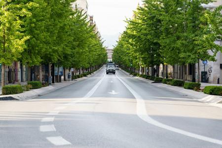 GRANADA  SPAIN  23RD APRIL  2020 View of the Gran Via street empty of people