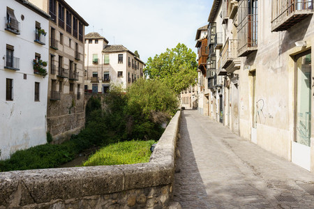 GRANADA SPAIN 23RD APRIL 2020 View of the Carrera del Darro street empty of people