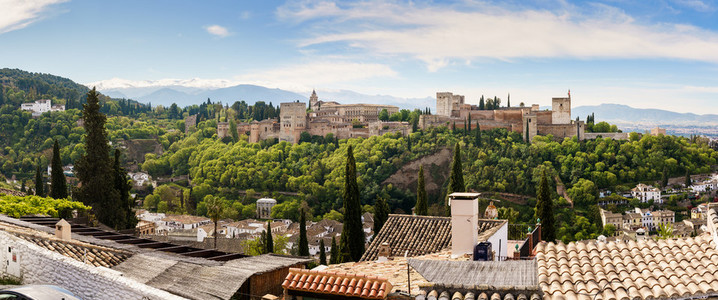 GRANADA  SPAIN  23RD APRIL  2020 Panoramic view of the Alhamabra from Albaicin empty of people