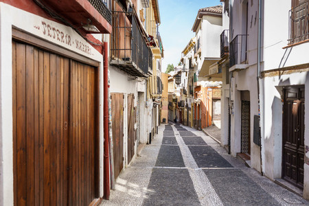 GRANADA  SPAIN  23RD APRIL  2020 View of the Caldereria street empty of people