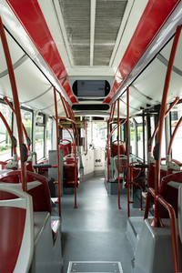 GRANADA  SPAIN  23RD APRIL  2020 Interior of a modern empty city bus empty of people