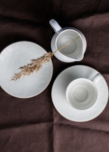 Set of kitchen ceramic tableware Eco and minimal style home still life