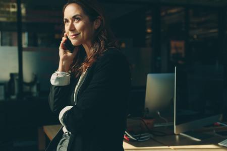 Business executive on phone call in office