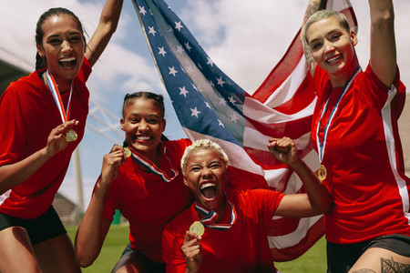 American woman soccer team celebrating championship victory