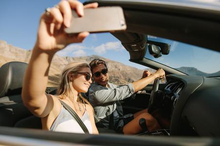 Selfie on a road trip