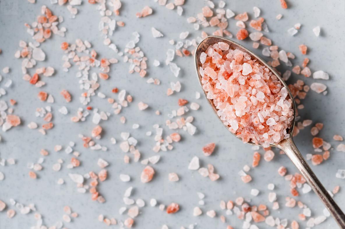 Top view of Himalayan pink salt  macro photography