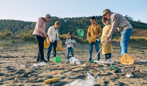 Volunteers preparing to clean the beach