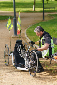 Man using handicapped bike for sport during Covid 19 pandemic
