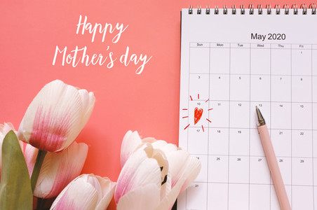 Happy mothers day 2020 with calendar