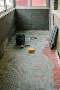 Tile laying work on floor