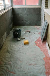 Tile laying work on floor