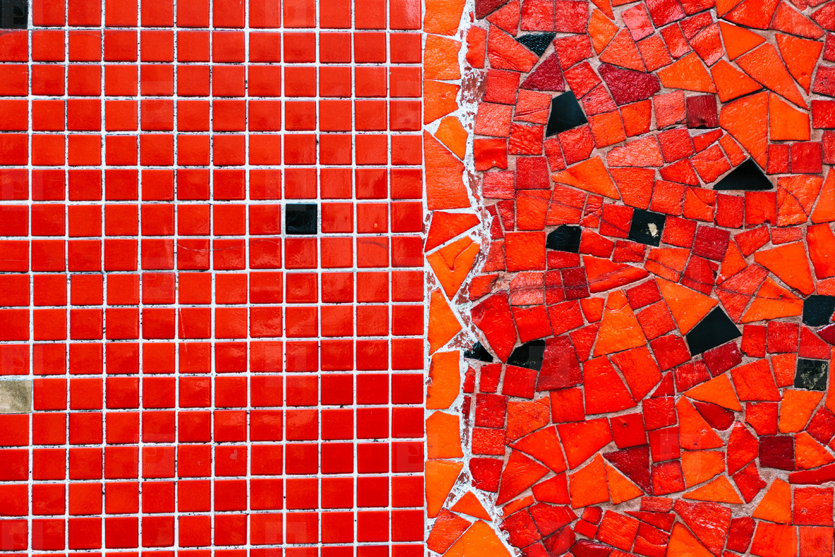 Background from red and black mosaic pattern  close up