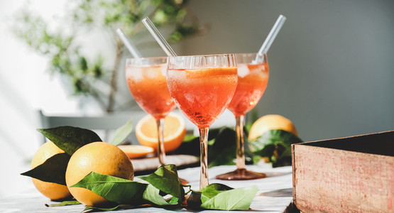 Aperol Spritz cocktail in glasses with fresh oranges  close up