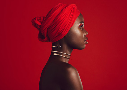 Stylish woman wearing red turban