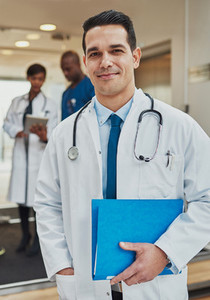 Friendly confident Hispanic doctor