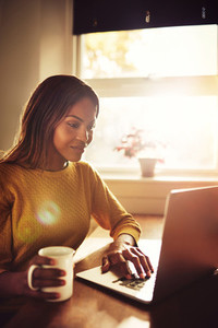 Smiling woman typing on laptop near sunny window