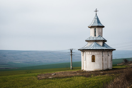 Isolated orthodox chapel in the countryside in Romania