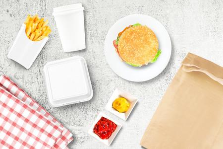 Burger and fries mockup