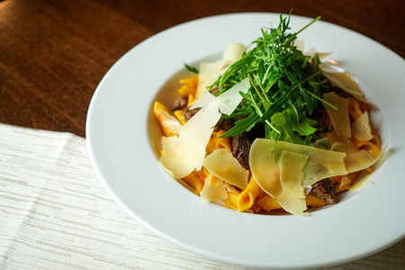 Pasta dish on a restaurant table