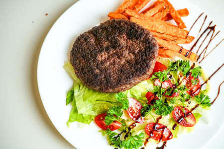 Steak on a restaurant table