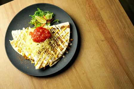 Tortilla on a restaurant table