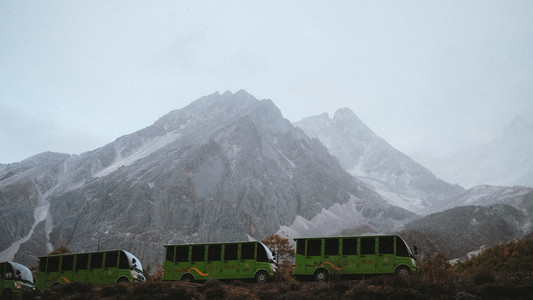 Tourist bus at mountains  China