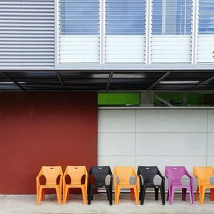 View of a row plastic chairs