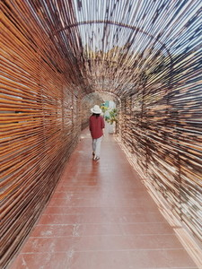 Wooden tunnel walkway