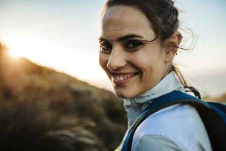 Smiling female hiker