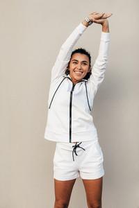 Smiling sportswoman