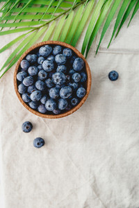 Blueberry in a wooden bowl on a linen napkin decorated with palm leaf  Eco friendly and summer background