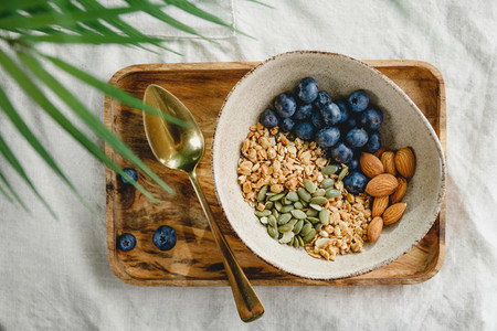 Top view of a morning granola with almond  blueberry  pepitas and chia seeds on a wooden tray decorated with palm leaf