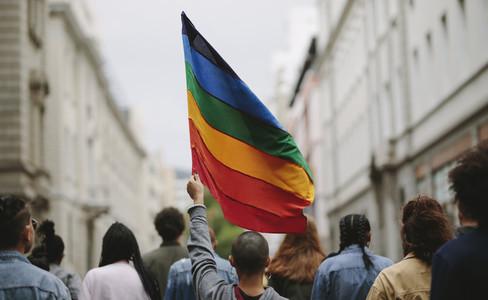 People in a gay pride parade
