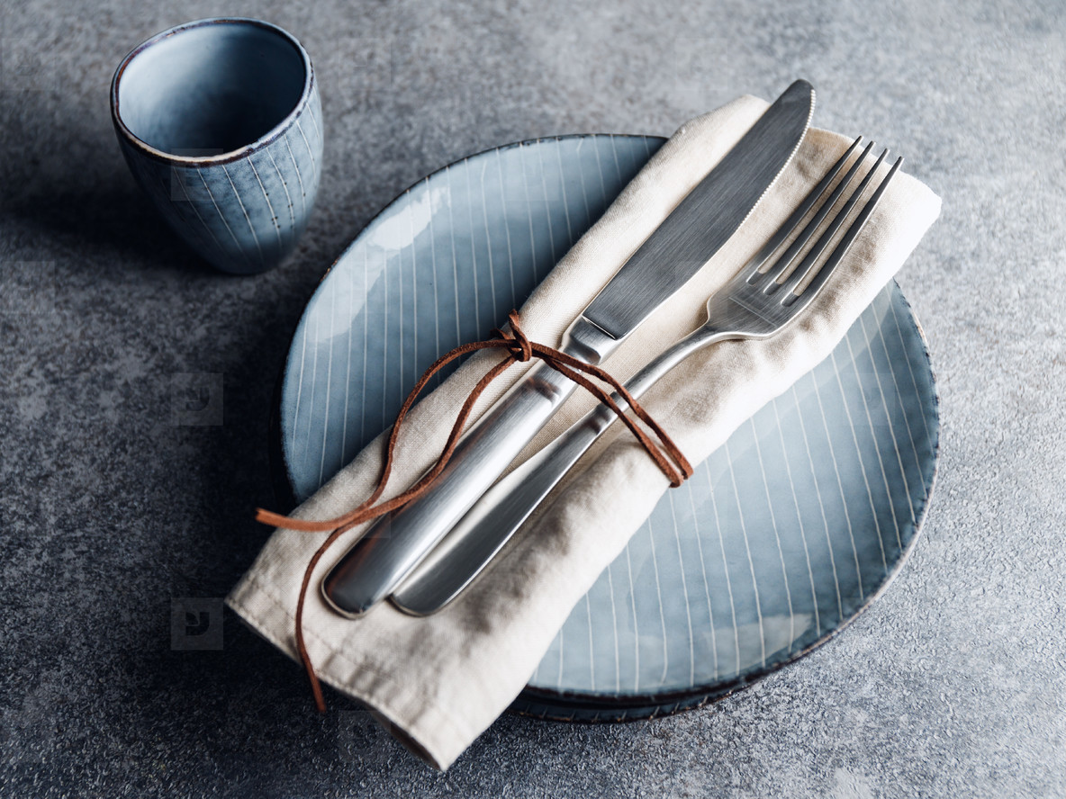Served table setting with food blue ceramic set
