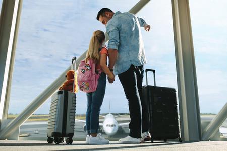 Family at airport terminal