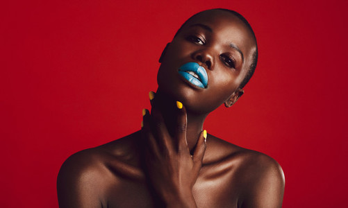 Sensual african woman with vivid makeup