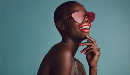 African female model with funky sunglasses