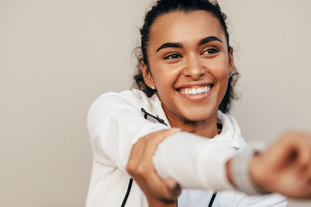Close up of smiling sports woman