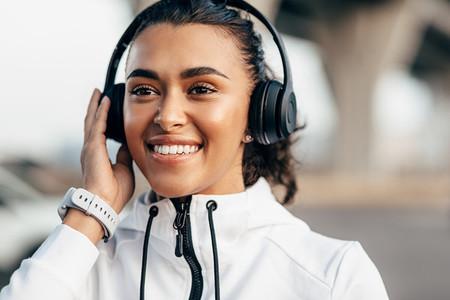 Female athlete with headphones