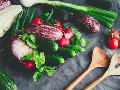 Different fresh colorful vegetables on a table  Close up view  healthy eating concept
