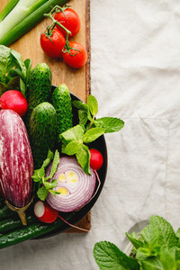 Fresh colorful vegetables for making summer salad in a plate copy space
