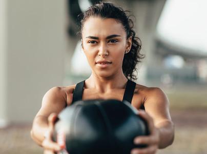 Muscular sportswoman