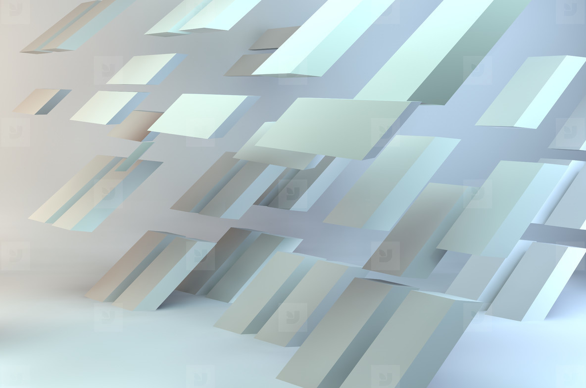 3d illustration abstract floating bricks shadow light background presentation grid