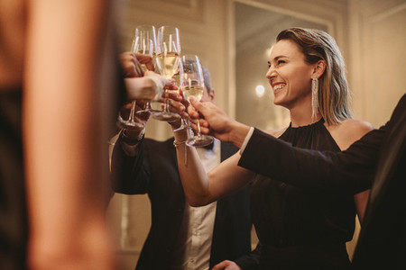 Multi ethnic group of people toasting champagne at party