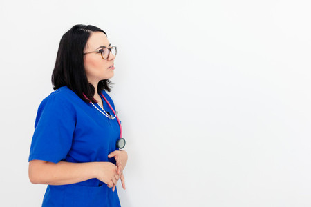 Doctor woman isolated on withe background gesturing