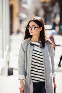 Beautiful fashion model with gla