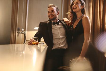 Beautiful couple enjoying weekend at a pub