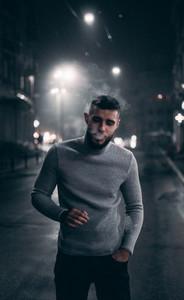 Portrait of a man smoking