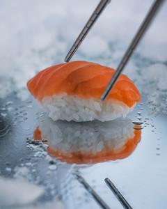 fresh sushi on winter background