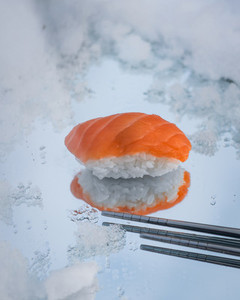 fresh sushi on winter background